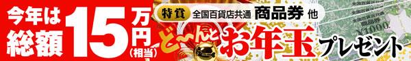 今年は総額15万円 お年玉プレゼント
