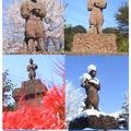 広野小 二宮金次郎像と奉安殿跡